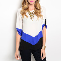 Chevron Detailed Light Blouse in Blue White & Black