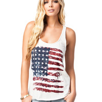 National Flag Print Sleeveless Graphic Tank
