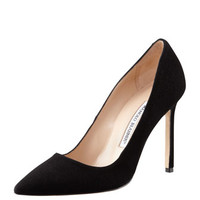 Manolo Blahnik BB Suede 115mm Pump, Black (Made to Order)