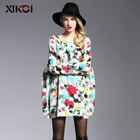 Spring Oversized Sweater Women Pullover Fashion Batwing Sleeve Print Slash Neck Pullovers Knitted Woman Sweaters Jumper