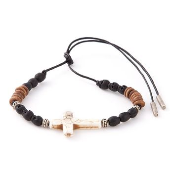 Saint Laurent beaded crucifix bracelet