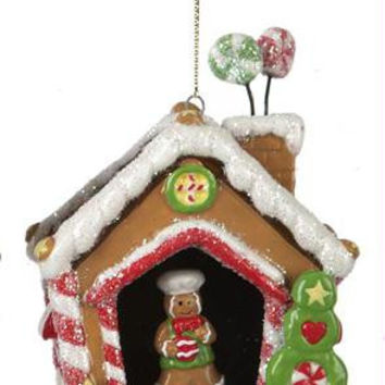 Christmas Ornament - Gingerbread House And Boy Cookie