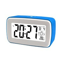 Goldmice DIY Recording Snooze Alarm Clock with Date, Temperature Display, Countdown Counter, Low Light Sensor Technology, Touch-sensitive Alarm Clock with Backlight, Make Your Own Ringing (Blue)