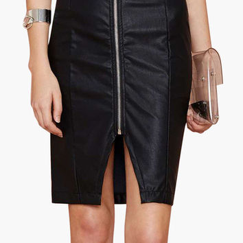 Black Front Zip Leather Pencil Skirt