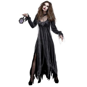 2018 Ladies Costume Party Dress Flare Sleeve Women Vintage Halloween Ghost Dress Black Long Gothic Dress