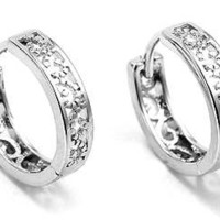 """14MM 0.50"""" Inch Gorgeous Casted Filigree White Gold Tone Huggie Hoop Earrings"""