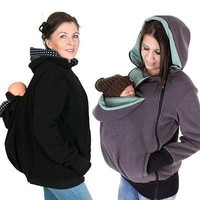 Maternity Polar Fleece Kangaroo Hoodie Pullover Carrier For Mom and Baby