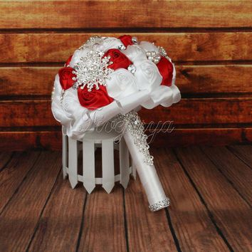 Elegant Wedding Bridal Bouquet Satin Rose Flowers