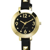 Nine West Watch, Women's Gold-Tone Pyramid Stud and Black Strap 34mm NW-1498BKBK