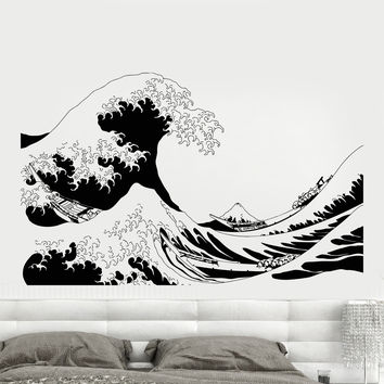 Vinyl Wall Decal Japanese Sailors Boat Sea Ocean Waves Island Volcano Stickers Unique Gift (863ig)