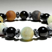 Beaded Bracelet or Anklet with Amazonite and Tiger Eye Alternating between Snowflake Obsidian Accents