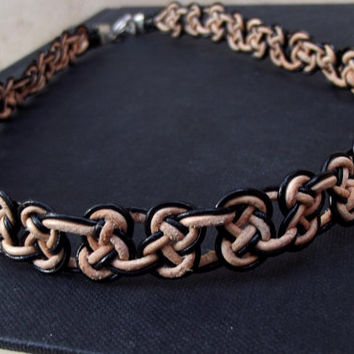 Celtic Knot Choker Necklace:  Natural Tan & Black Leather Macrame Hand Tied Bohemian Unisex Jewelry