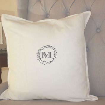 Branch Wreath Custom Monogram Pillow Cover - 9 Colors