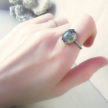 Montana moss agate sterling silver stacking ring, semiprecious gemstone, artisan jewelry, size 8 3/4