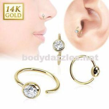 Ball CZ Hoop Ring 14 Karat Solid Yellow Gold 20ga