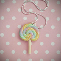 Pastel Rainbow Lollipop Necklace, Polymer Clay, Kawaii Food Jewelry