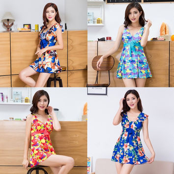 Womens Cute Pattern Swimdress Plus Size Swimsuit