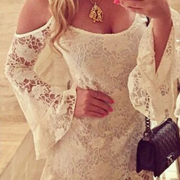 Spaghetti Strap Bell Sleeve Cutout Lace Ruffled A-Line Mini Dress