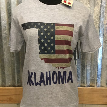 Grey Short Sleeve Vintage Oklahoma Flag T-Shirt