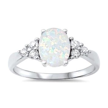 Sterling Silver Lab-Created Oval Opal White CZ Accented Ring
