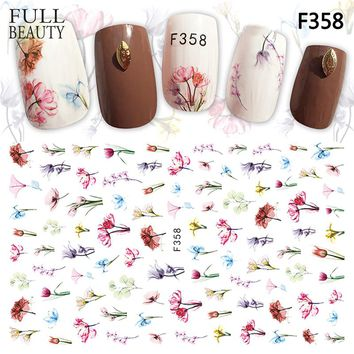 Full Beauty 1 Sheets New 2018 Charms Sticker Nails Art Flower Blooming 3D Adhesive Gold Silver Metallic Slider Nail Decals CHF