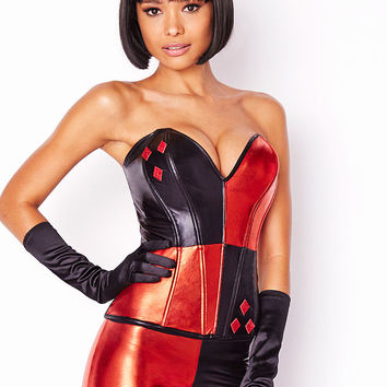 NEW Harlequin-to-Poison Ivy Reversible Corset