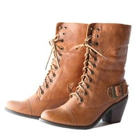 sawyer fold-over lace up boots in camel