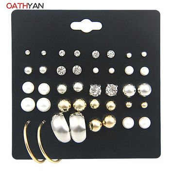 OATHYAN 20PCS/PACK Punk Fashion Stud Earrings Set For Women Simple Design Simulated-pearl Crystal Metal Ball Earrings Brincos