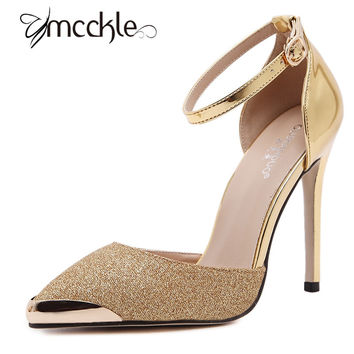 MCCKLE Women's Luxury Pumps 2017 New High Heels Metal Pointed Toe  Rhinestone Sandals Sexy Ankle Strap Wedding Shoes Gold Silver