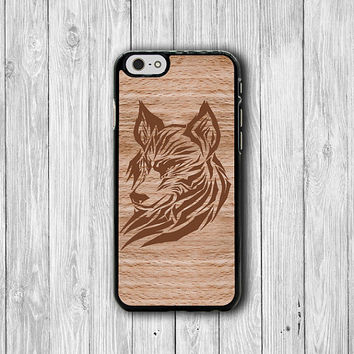 Wolf Tribal Aztec Wood iPhone 6 Cases,Japanese Geometric Wood iPhone 5S, iPhone 4, iPhone 4S Hard Case, Rubber Covers Deco Accessorie Cover