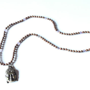 108 Mala made with Batikan Seeds, Amethyst  Beads, and Buddha Head
