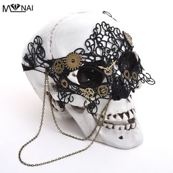Vintage Steampunk Gear Clock Wheel Mask Handmade Gothic Victorian Lace Mask Lolita Retro Accessories Cosplay