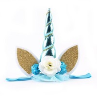 Baby / Newborn Unicorn Headband with Blue Horn, Lace and Flowers with Ears