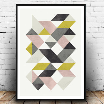 Geometric print, Triangles art, Watercolor print, Minimalist art, modern wall art, yellow and pink, wall decor, scandinavian print,