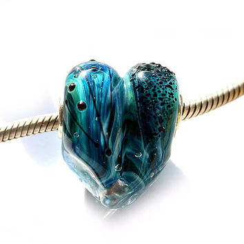 Valentine day blue Heart teal green glass handmade by MayaHoney