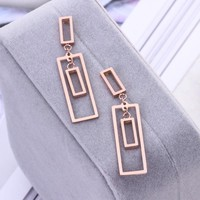 Rose gold color Punk Design Fashion Square Geometric 316L Stainless steel Stud Earring Women Party Jewelry pendientes brincos