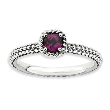 Sterling Silver Stackable Expressions Checker-Cut Rhodolite Garnet Antiqued Ring