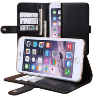"""iPhone 6 Plus, 6s Plus Wallet """"The Classic"""" w/ Kickstand & Snap Latch (Black). The Best Full Grain Vegetable Tanned Italian Leather."""