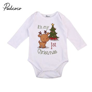 Cute Newborn Clothes My 1st Christmas Long Sleeve Xmas Cotton Romper Jumpsuit One Pieces Playsuit Outfits Clothing 0-24M