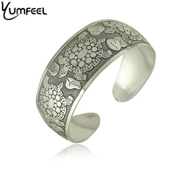 New Animal Design Vintage Silver Plated Bangles Elephant Turtle Cuff Bracelet bangle for Woman