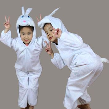 Children Kids Girl Boy Animal White Rabbit Costume Cosplay Jumpsuit Children's Day Halloween Easter Costumes for Boys Girls