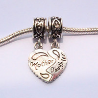 Silver mother love daughter heart big hole European Beads Fit Charm pandora