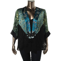 Spencer Alexis Womens Jacquard Metallic Casual Blazer