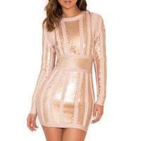 Clothing : Bandage Dresses : 'Massima' Pink & Gold Bandage & Sequin Dress