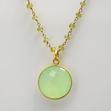 Personalized Large Natural Green Chalcedony Vermeil Gold bezel set peridot wire wrapped necklace - Large Gemstone necklace