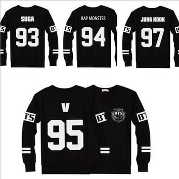 BTS SUGA / JIMIN /JIN/  V / JUNGKOOK /J-HOPE / Rap Monster Baseball T Shirt Jersey Sweatshirts Sweater Clothes Bts T-shirt