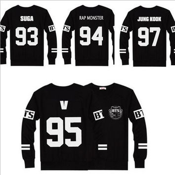 New BTS T-Shirts Baseball Black T Shirt Men Women Tops Long Sleeve Casual Tees Clothes Ropa Mujer