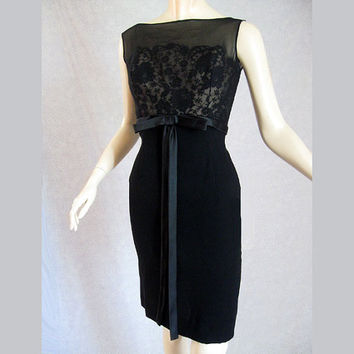 Vintage 50s Black Illlusion Lace Cocktail Dress Wiggle 36 Bust