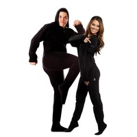 Black Adult Onesuit Footed Pajamas