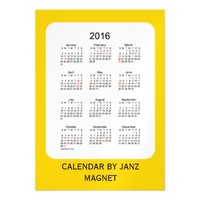 2016 Gold Calendar by Janz 5x7 Magnet Magnetic Invitations